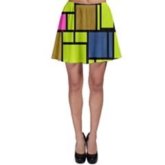 Squares and rectangles Skater Skirt