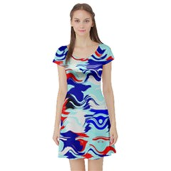 Wavy Chaos Short Sleeve Skater Dress