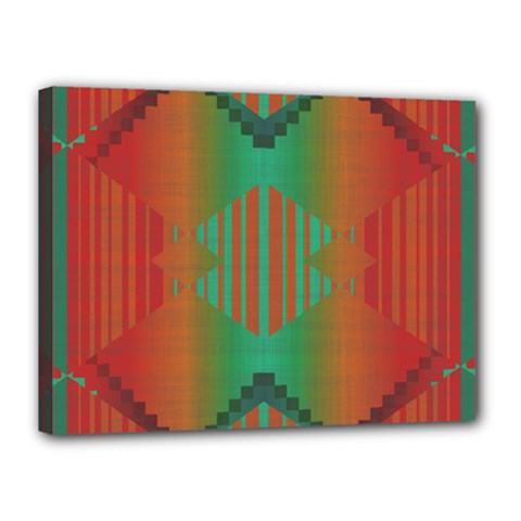 Striped Tribal Pattern Canvas 16  X 12  (stretched)