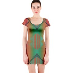 Striped tribal pattern Short sleeve Bodycon dress