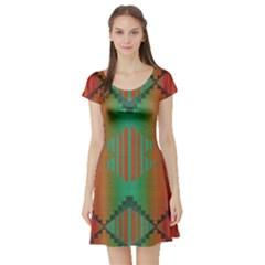 Striped tribal pattern Short Sleeve Skater Dress