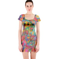 Colorful Autumn Short Sleeve Bodycon Dress