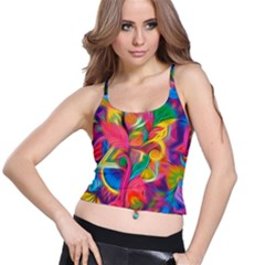 Colorful Floral Abstract Painting Spaghetti Strap Bra Top