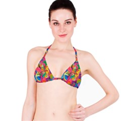 Colorful Floral Abstract Painting Bikini Top