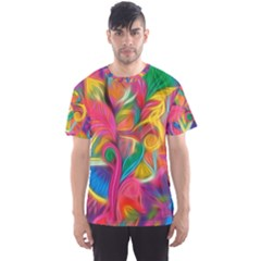 Colorful Floral Abstract Painting Men s Sport Mesh Tee