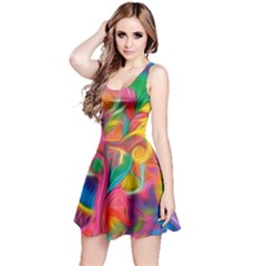 Colorful Floral Abstract Painting Reversible Sleeveless Dress