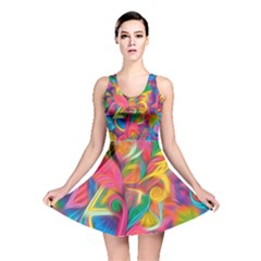 Colorful Floral Abstract Painting Reversible Skater Dress