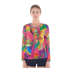 Colorful Floral Abstract Painting Women s Long Sleeve T-shirt