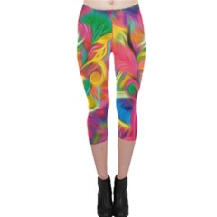 Colorful Floral Abstract Painting Capri Leggings