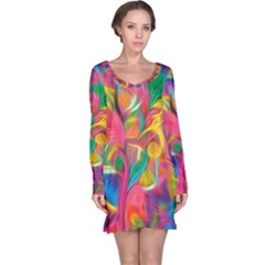 Colorful Floral Abstract Painting Long Sleeve Nightdress