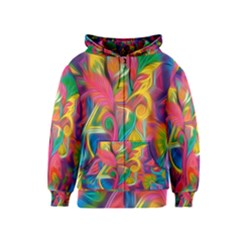 Colorful Floral Abstract Painting Kids Zipper Hoodie