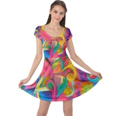 Colorful Floral Abstract Painting Cap Sleeve Dress