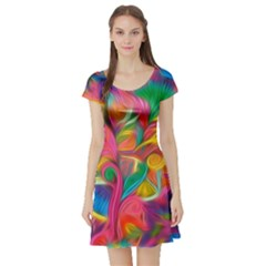 Colorful Floral Abstract Painting Short Sleeve Skater Dress