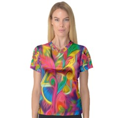 Colorful Floral Abstract Painting Women s V-Neck Sport Mesh Tee