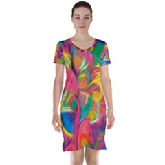 Colorful Floral Abstract Painting Short Sleeve Nightdress