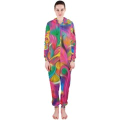Colorful Floral Abstract Painting Hooded Jumpsuit (Ladies)