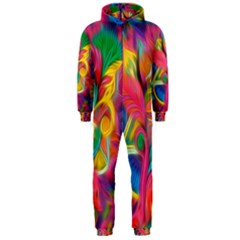 Colorful Floral Abstract Painting Hooded Jumpsuit (Men)