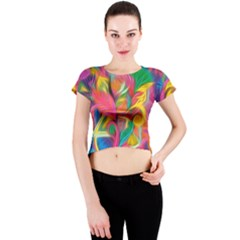 Colorful Floral Abstract Painting Crew Neck Crop Top