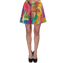 Colorful Floral Abstract Painting Skater Skirt