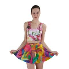 Colorful Floral Abstract Painting Mini Skirt