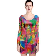 Colorful Floral Abstract Painting Long Sleeve Bodycon Dress