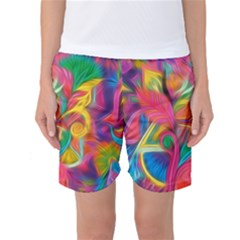 Colorful Floral Abstract Painting Women s Basketball Shorts