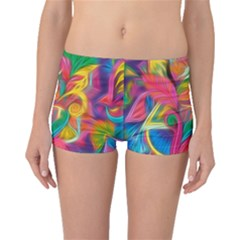 Colorful Floral Abstract Painting Boyleg Bikini Bottoms