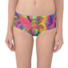 Colorful Floral Abstract Painting Mid Waist Bikini Bottoms