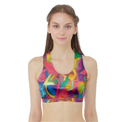 Colorful Floral Abstract Painting Women s Sports Bra with Border