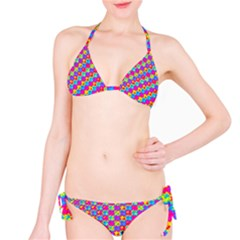 Crazy Yellow and Pink Pattern Bikini Set