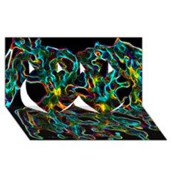 Soul Colour Twin Hearts 3d Greeting Card (8x4)