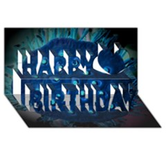 Blue Plant Happy Birthday 3d Greeting Card (8x4)