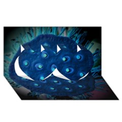 Blue Plant Twin Hearts 3D Greeting Card (8x4)
