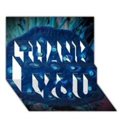Blue Plant Thank You 3d Greeting Card (7x5)