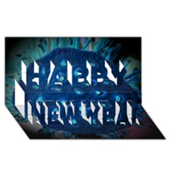 Blue Plant Happy New Year 3D Greeting Card (8x4)