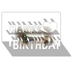 Black Ghoulish Pumpkins In White Matte Happy Birthday 3D Greeting Card (8x4)