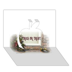 Black Ghoulish Pumpkins In White Matte Apple 3D Greeting Card (7x5)