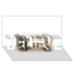 Black Ghoulish Pumpkins In White Matte BELIEVE 3D Greeting Card (8x4)