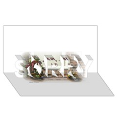 Black Ghoulish Pumpkins In White Matte SORRY 3D Greeting Card (8x4)