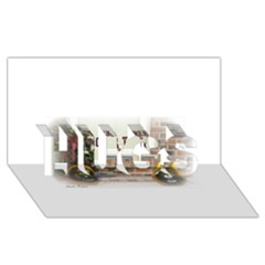 Black Ghoulish Pumpkins In White Matte Hugs 3d Greeting Card (8x4)