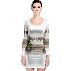 Black Ghoulish Pumpkins In White Matte Long Sleeve Bodycon Dresses