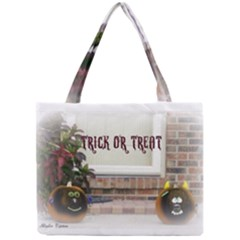 Black Ghoulish Pumpkins In White Matte Tiny Tote Bags