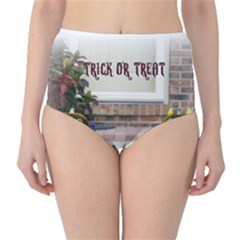 Black Ghoulish Pumpkins In White Matte High-Waist Bikini Bottoms