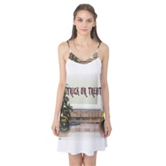 Black Ghoulish Pumpkins In White Matte Camis Nightgown