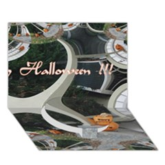 Creepy Pumpkin Fractal Circle Bottom 3d Greeting Card (7x5)