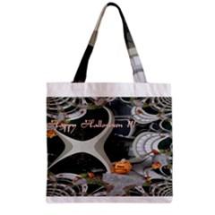 Creepy Pumpkin Fractal Grocery Tote Bags
