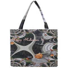 Creepy Pumpkin Fractal Tiny Tote Bags
