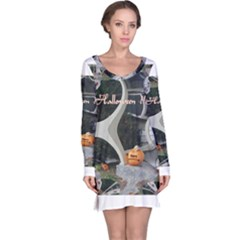 Creepy Pumpkin Fractal Long Sleeve Nightdresses