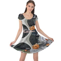 Creepy Pumpkin Fractal Cap Sleeve Dresses