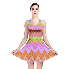 Pastel Waves Pattern Reversible Skater Dress
